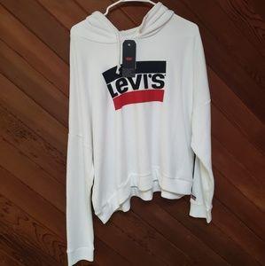 Levi's XL white cropped hoodie NWT